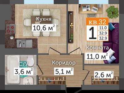 """1к ул. Донская ЖК """"Престиж"""""""